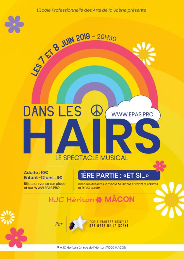 Affiche du spectacle musical Dans les Hairs par les artistes etudiants en formation pro à l'EPAS, MJC Heritan a Macon, juin 2019