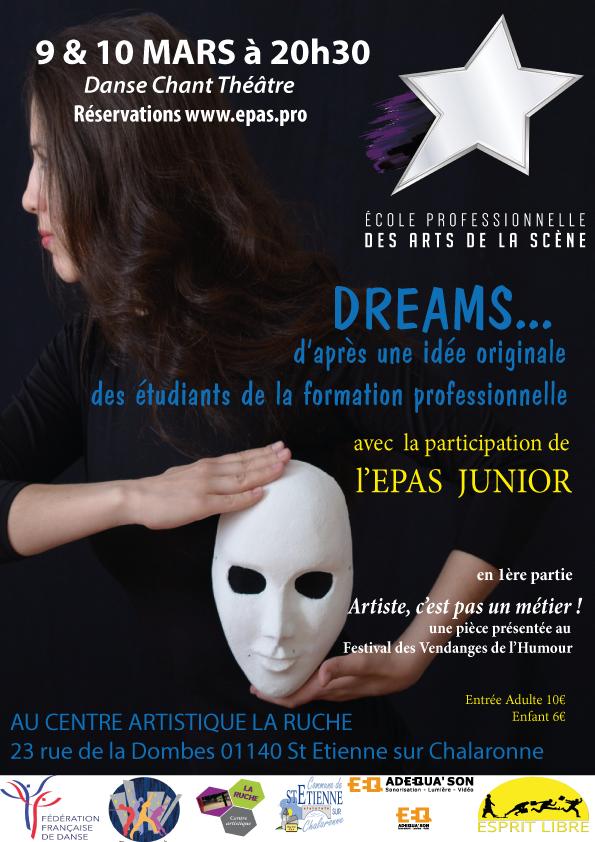 Affiche du spectacle pluridisciplinaire Dreams par les artistes etudiants en formation Pro à l'EPAS, La Ruche, mars 2018