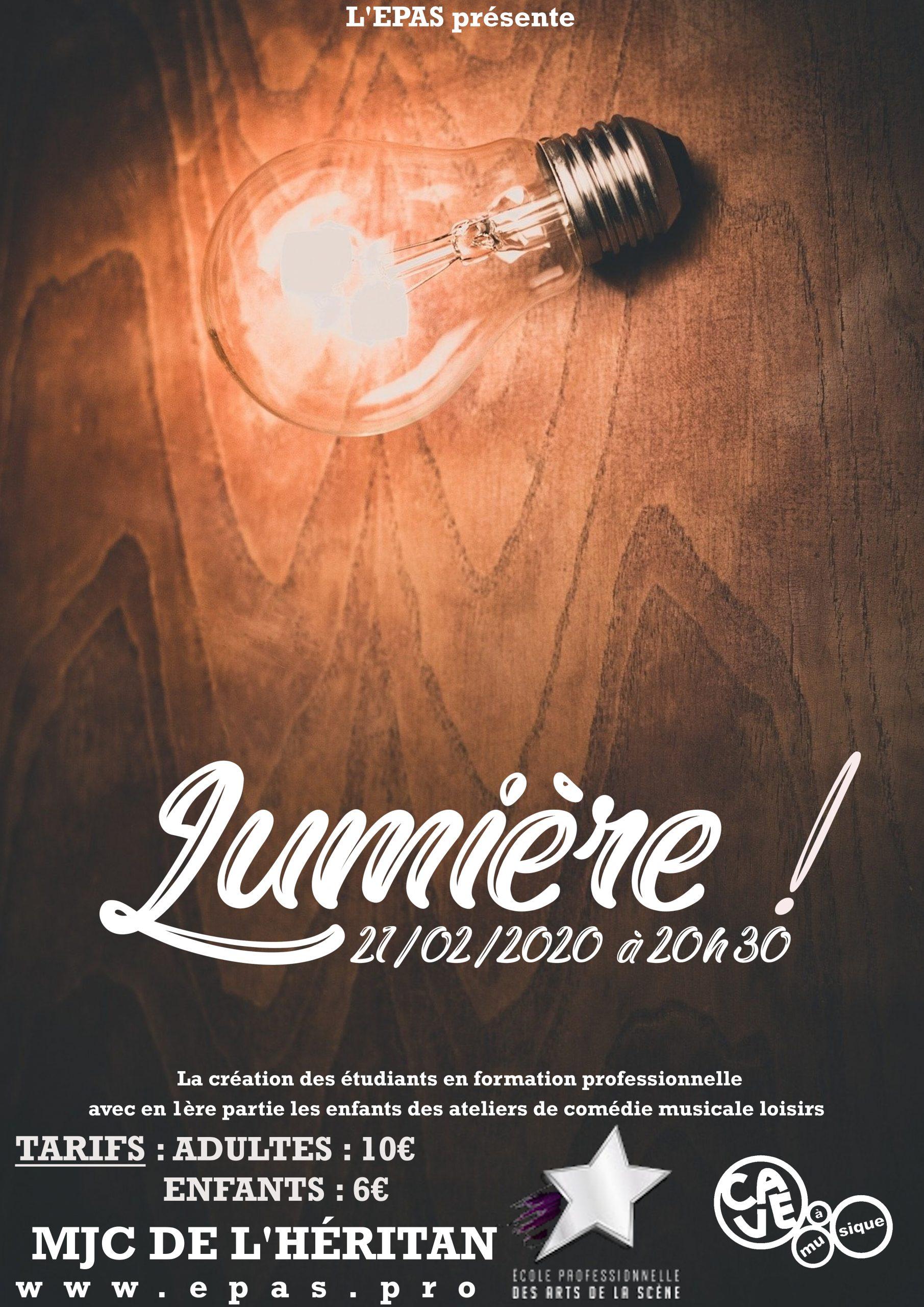 Affiche du spectacle pluridisciplinaire Lunière par les artistes etudiants en formation Pro à l'EPAS, MJC Heritan de Mâcon, fevrier 2020