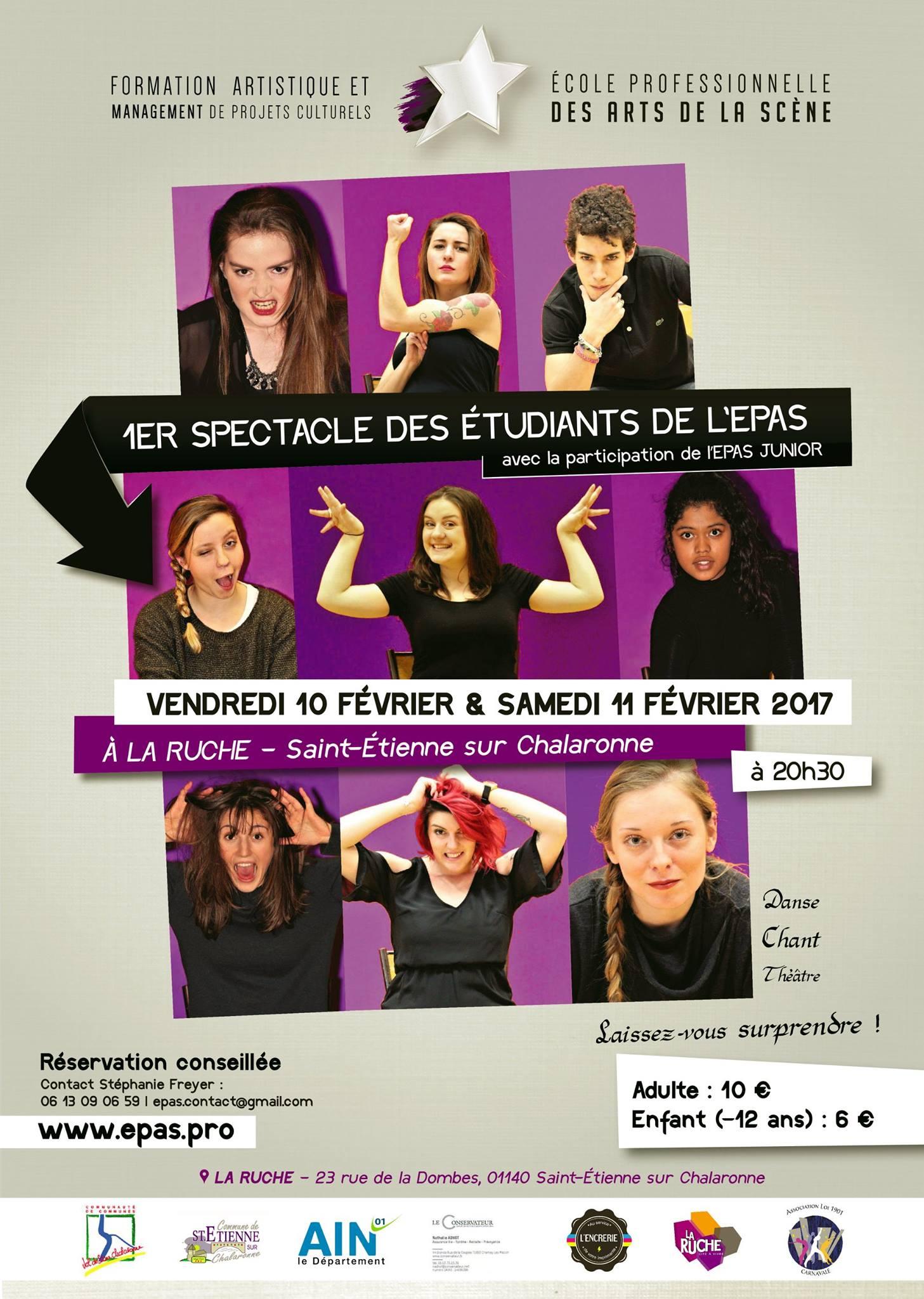 Affiche du tout premier spectacle de l'EPAS en fevrier 2017 à La Ruche à Saint etienne sur chalaronne