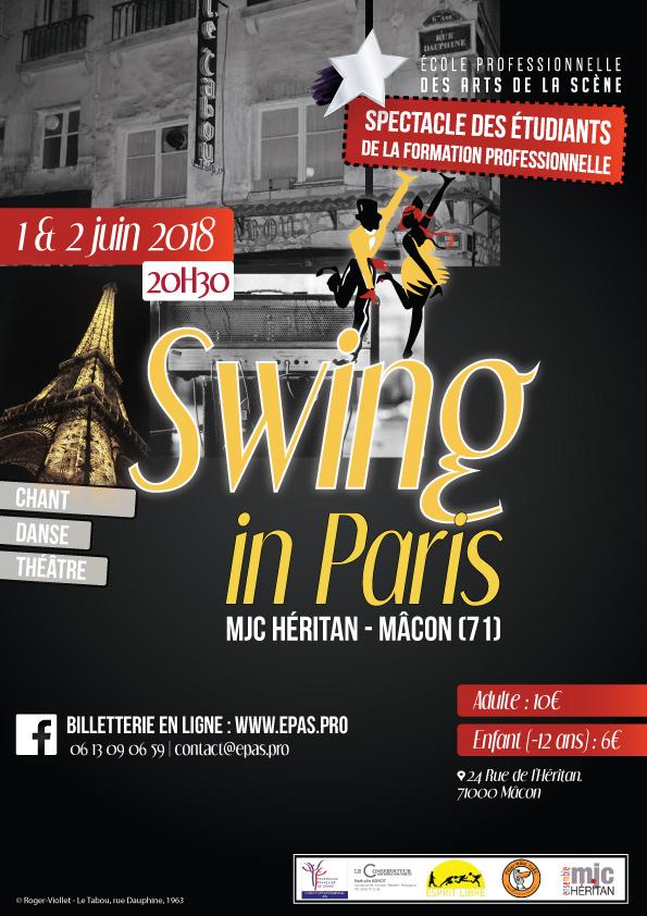Affiche du spectacle pluridisciplinaire Swing in Paris par les artistes etudiants en Formation Pro à l'EPAS, mjc Heritan a Macon, juin 2018